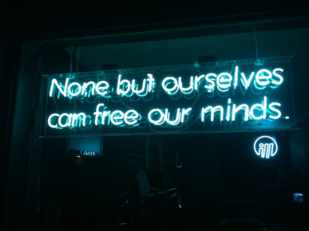 Me, today. 7.8.12. Wisdom in a Neon Sign
